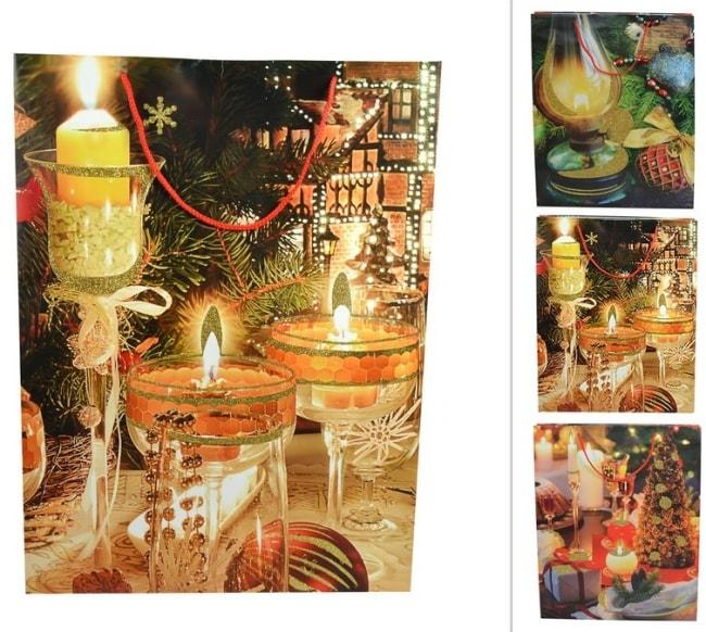 Taška papírová, vánoční motiv svíčky 50X38X10 (CM000061E)