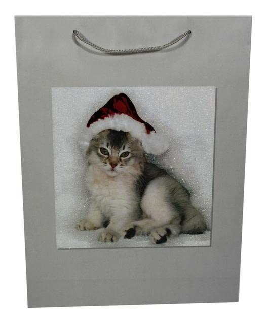 Taška papírová, vánoční motiv kotě 50x38x10(IR002661)