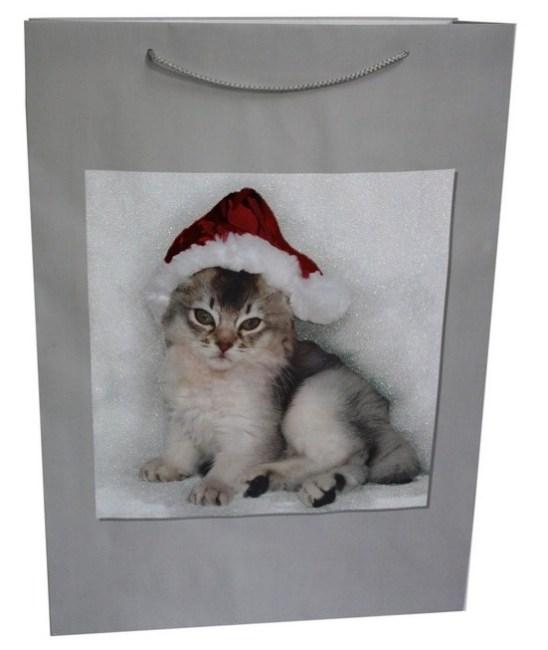 Taška papírová, vánoční motiv kotě 61x44x17 (IR002662)