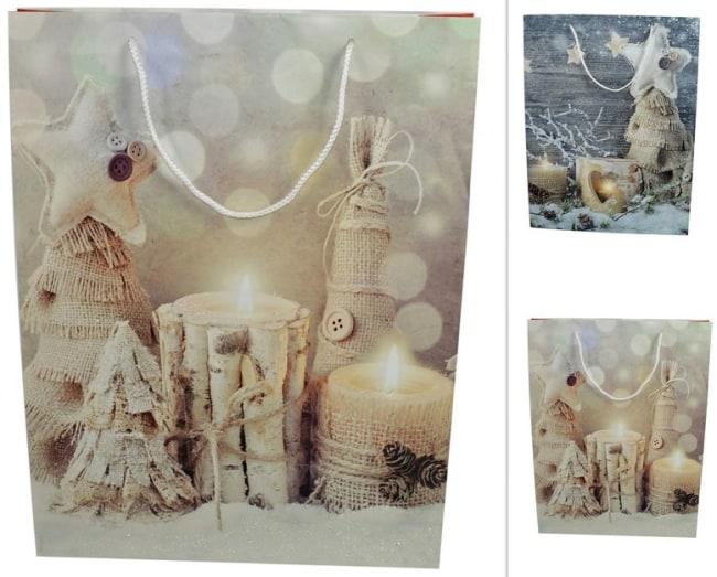 Taška papírová  vánoční motiv svíčky stromy juta 61x44x17