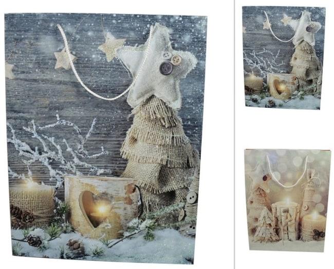 Taška papírová  vánoční motiv svíčky stromy juta 50x38x10