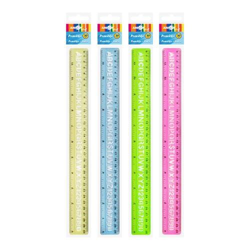Pravítko ohybné 30 cm se šablonou barva žlutá;modrá;zelená;ružová.