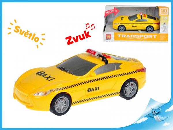 Auto taxi 16cm 1:28 na setrvačník se světlem a zvukem v krabičce