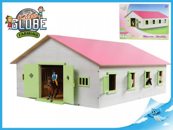Stáj pro koně dřevěná 72,5x38x60cm růžová v krabičce