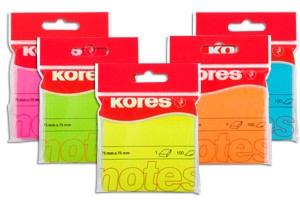 Samolepící bločky Kores Neon 75x75mm polyb 100l oranžový