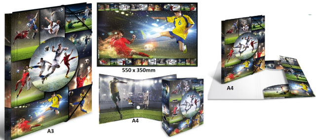 Designový set 4ks motiv fotbal (desky s gumou A3+A4,podložka, pořadač pákový A4