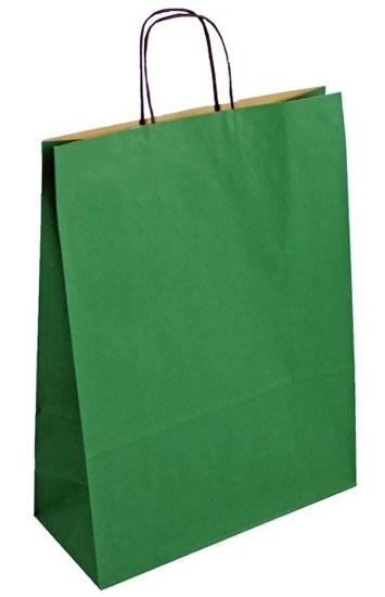 Papírová taška zelená 32x14x42 kroucené ucho vroubkovaný vzhled Toptwist