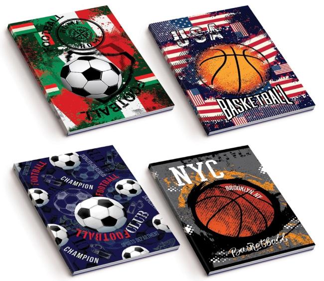 sešit A5, měkká obálka, 52listů,80 gr, Kolekce Sport, motiv basketbal USA