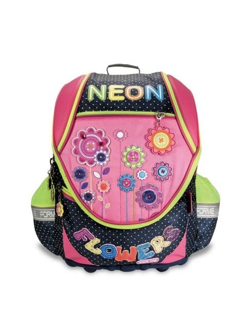 Školní batoh FOR ME - modro/růžový, NEON FROWERS