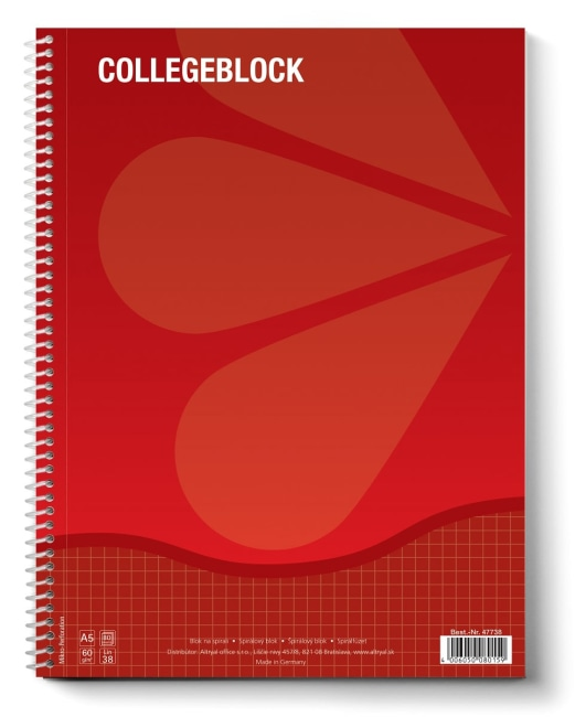 College blok A5 štverečkovaný, 80 listů, 70g/m2, červený, (balení 10ks)