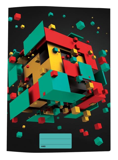 sešit 440 s 3D motivem ,A4, 40 listů,bez linek, motiv kostky