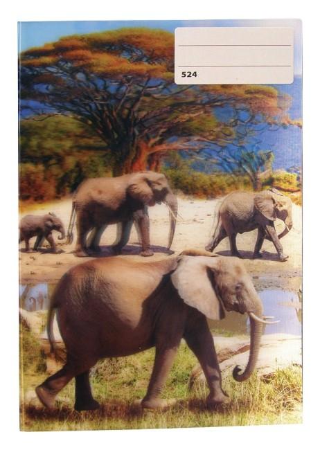 sešit 524 s 3D motivem,  A5, 20 listů,linkovaný, motiv sloni