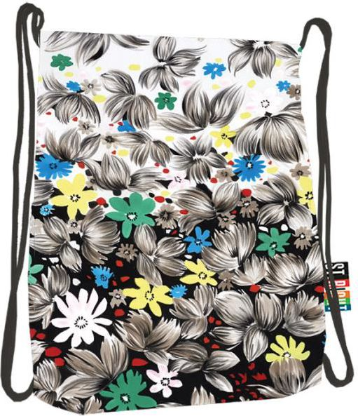 batoh na šňůrky, na přední straně kapsička na zip, St.RIGHT -Flowers Black