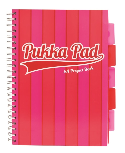 Pukka Pad projektový blok Pukka Stripe A4, 200 stran, linky 8 mm, růžový