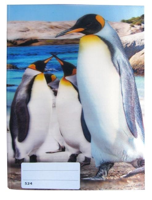 sešit 524 s 3D motivem,  A5, 20 listů,linkovaný, motiv tučňáci