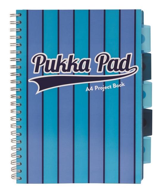 Pukka Pad projektový blok Pukka Stripe A4, 200 stran, linky 8 mm, modrý