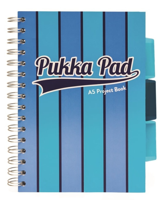 Pukka Pad projektový blok Pukka Stripe A5, 200 stran, linky 8 mm, modrý