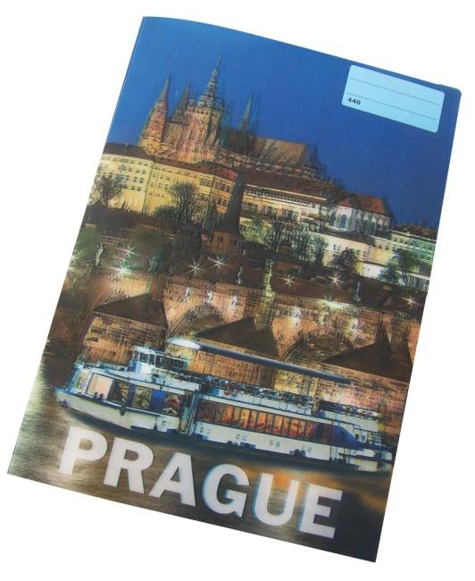 sešit 440 s 3D motivem ,A4, 40 listů,bez linek, motiv PRAGUE