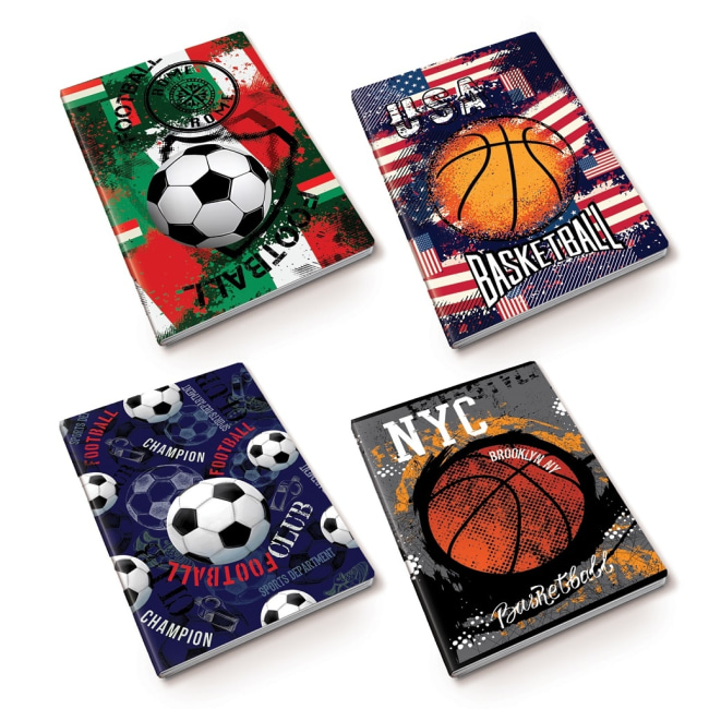 záznamová kniha A4, tvrdá obálka, 80 listů,80 gr, Kolekce Sport, motiv basketbal NYC