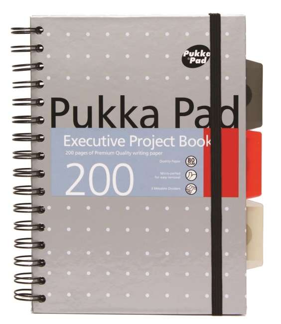 Pukka Pad projektový  blok Metallic Executive A5, papír 80g,100 listů, šedý