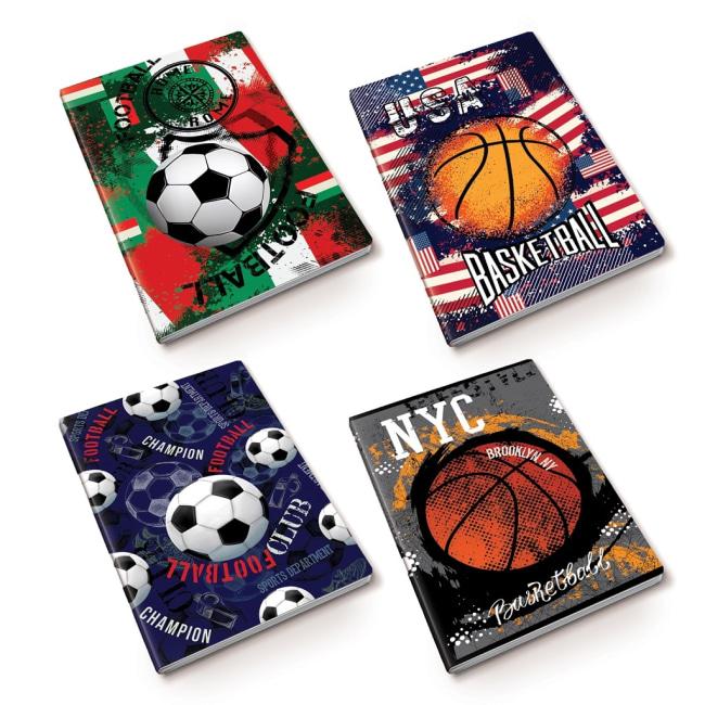 záznamová kniha A4, tvrdá obálka, 80 listů,80 gr, Kolekce Sport, motiv basketbal USA