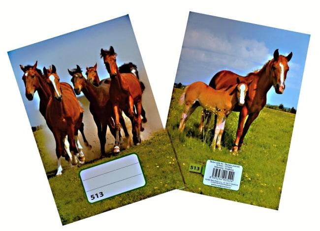 sešit 513,  A5, 10 listů, linkovaný 12 mm, motiv koně