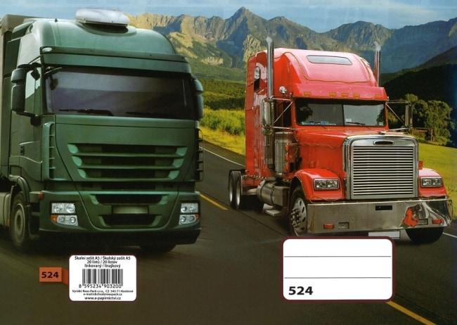 sešit 524, A5, 20 listů, linkovaný 8 mm, motiv kamion