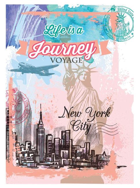 záznamová kniha A4, tvrdá obálka, 80 listů,80 gr, Kolekce Shiny,motiv New York