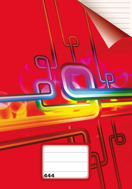 sešit 444, A4, 40 listů, linky 8 mm, červený
