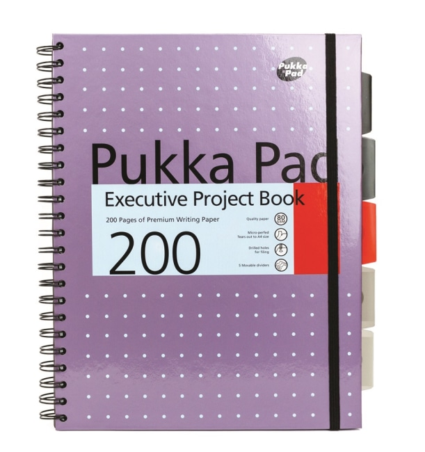 Pukka Pad projektový  blok Metallic Executive A4, papír 80g,100 listů, fialový