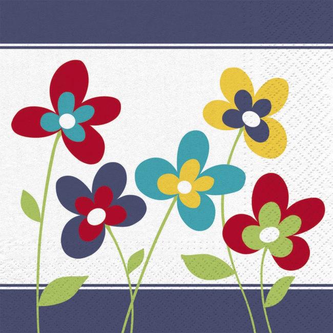 Ubrousky Summer flowers,33 x 33cm,3-vrstvé, v balení 20ks