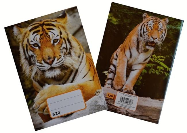 sešit 520,  A5, 20 listů, bez linek, motiv tygr