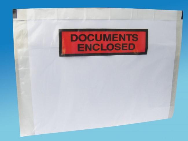 nalepovací obálka C5  rozměr 245 x 165 + 15 mm s nápisem  DOCUMENTS ENCLOSED