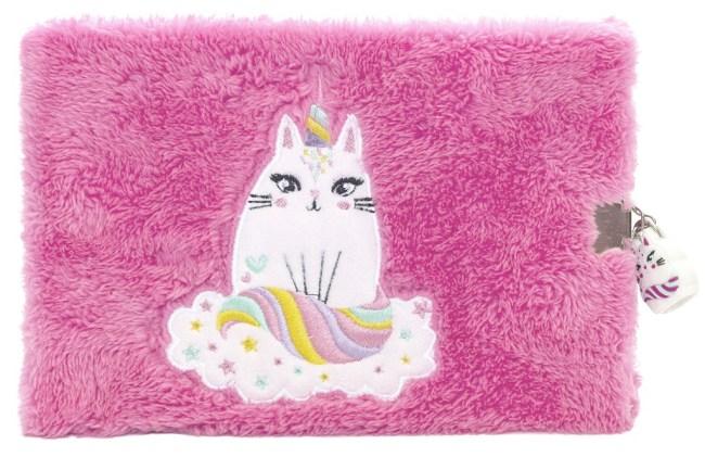 Pukka Fluffy zápisník se zámečkem, růžový, 72listů, chlupatý,210x148x14mm