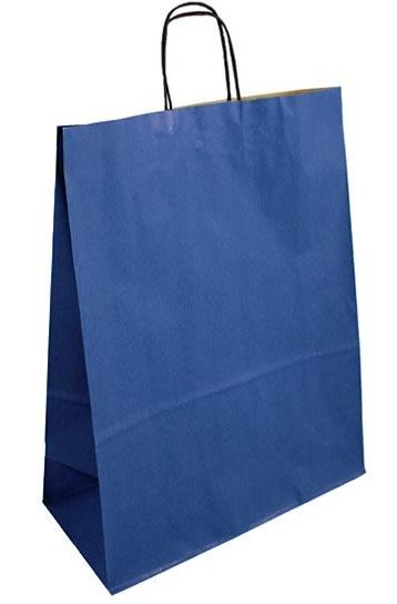 Papírová taška modrá 32x14x42 kroucené ucho vroubkovaný vzhled Toptwist