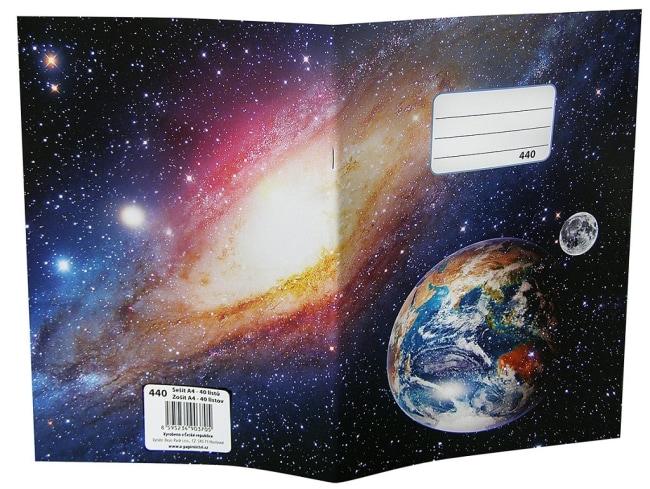 sešit 440, A4, 40 listů, bez linek motiv vesmír