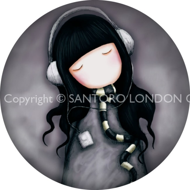 Magnet kulatý Santoro London - The Song, 5.8cm průměr x 0.5cm