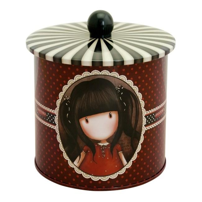 Plechová dóza na sušenky Santoro London -  Ruby, rozměry: 13.5 x 13.5 x 17.1 cm