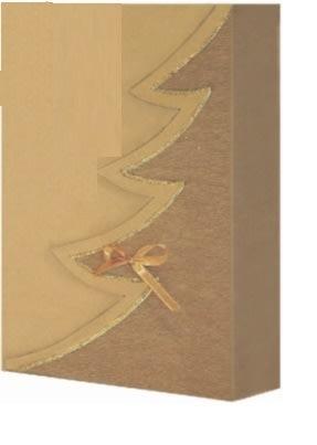 dárková krabička z vlnité lepenky, barva přírodní motiv hnědý strom, zlatý lem