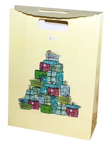 Dárkový sáček - taška,uzavírání na suchý zip, 340x290x120 mm,žlutý,motiv dárky