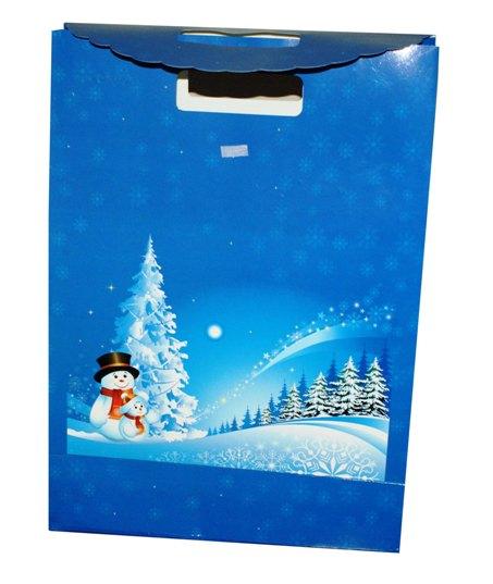 Dárkový sáček - taška,uzavírání na suchý zip, 340x290x120 mm,modrý,motiv sněhulák
