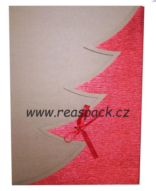 dárková krabička, barva přírodní, motiv (červený, stříbrný) strom