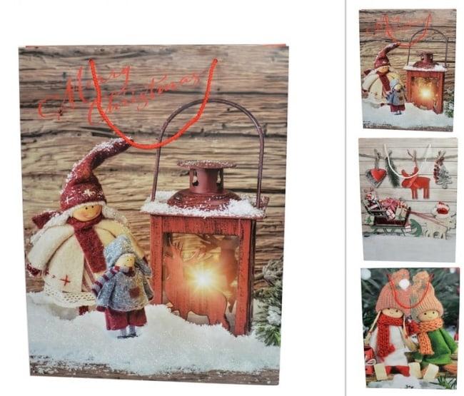Taška papírová  vánoční motiv lucerna 42X33X10 (CM000060D)