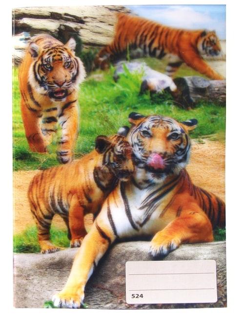 sešit 524 s 3D motivem,  A5, 20 listů,linkovaný, motiv tygři
