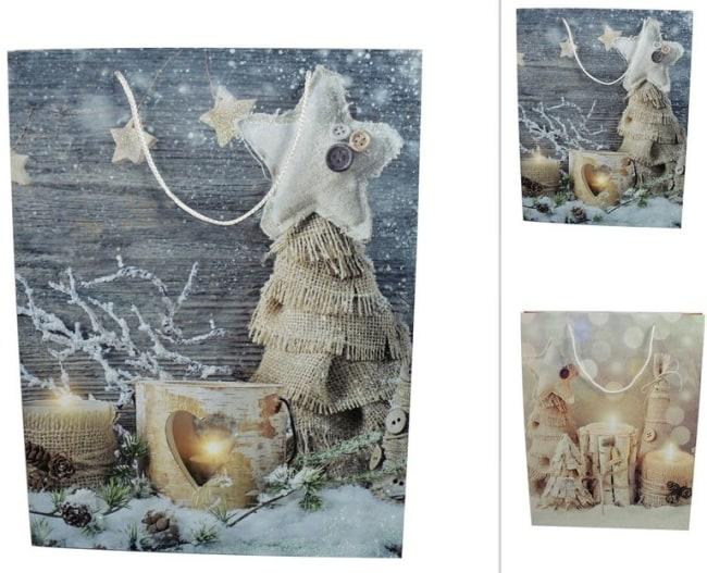 Taška papírová  vánoční motiv svíčky stromy juta 42x33x10