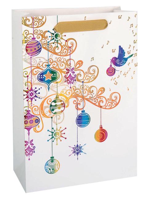 Taška vánoční dárková, bílá, potisk,  22,5 x 33,5 x 10cm