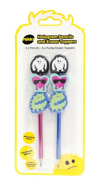 Sada hologramových tužek gumou,2 tužky č.2, 6 gumovacích pryží s designem