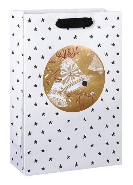 Taška vánoční dárková, bílá, potisk hvězdičky, motiv zvonečky, 22,5 x 33,5 x 10cm