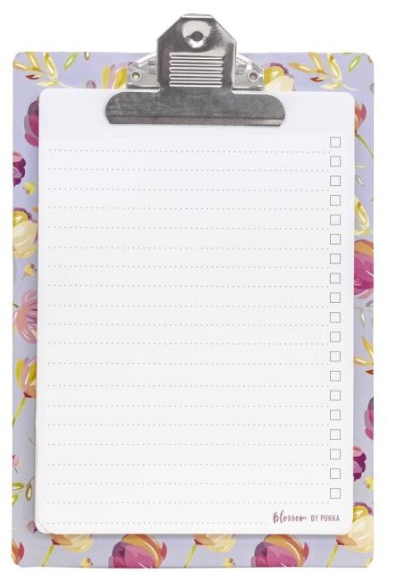 Psací podložka papírová s klipem s poznámkovými listy,170x245mm, 50 listů, papír 100g
