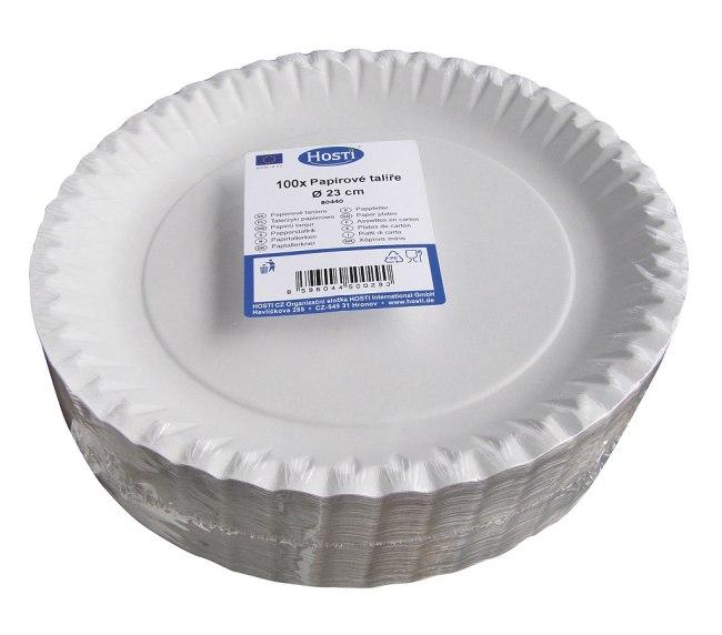 papírové talíře mělké 23cm v balení 100ks